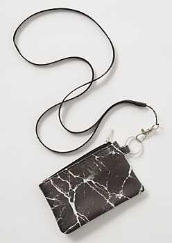 Black Marble Print Lanyard