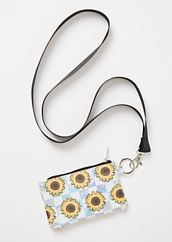 Metallic Checkered Sunflower Print Lanyard