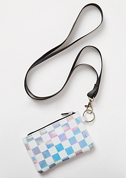 Metallic Checkered Print Lanyard