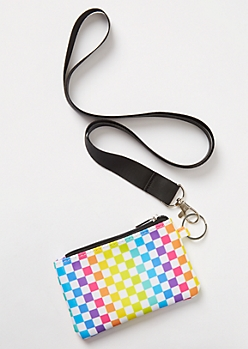 Rainbow Checkered Print Lanyard