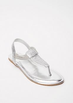 Silver Glitter T Strap Sandals