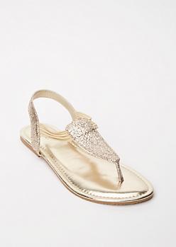 Gold Glitter T Strap Sandals