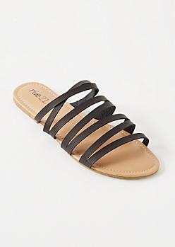 Black Strappy Slip On Sandals
