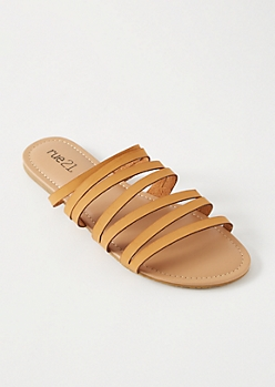 Cognac Strappy Slip On Sandals