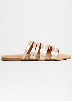 Gold Metallic Strappy Slip On Sandals