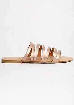 Rose Gold Metallic Strappy Slip On Sandals