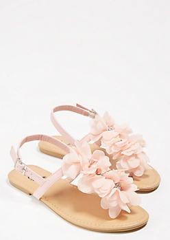 Light Pink Rhinestone Floral T Strap Sandals