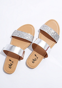 Silver Glitter Strap Sandals