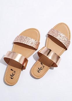 Rose Gold Glitter Strap Sandals
