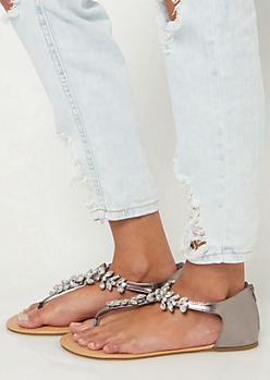 Metallic Rhinestone Closed Back Sandals