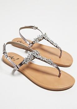 Silver Floral Rhinestone T Strap Sandals