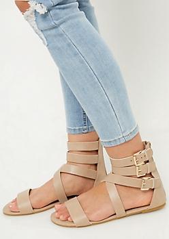 Taupe Crisscross Strap Gladiator Sandals