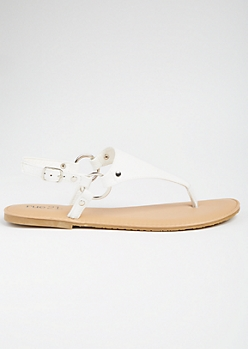 226c4e48cac1 White T Strap Ankle Buckle Sandals