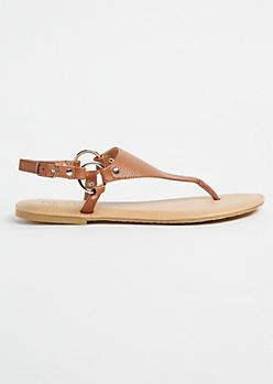 Cognac T Strap Ankle Buckle Sandals