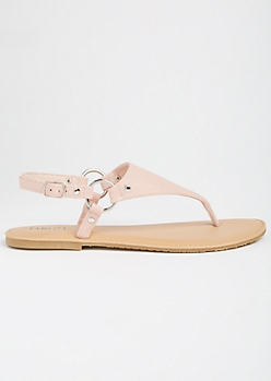 Pink T Strap Ankle Buckle Sandals