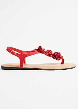 Red Floral Accent Buckled Sandals