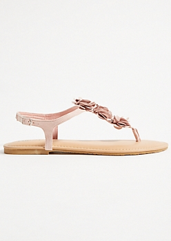 Light Pink Floral Accent Buckled Sandals