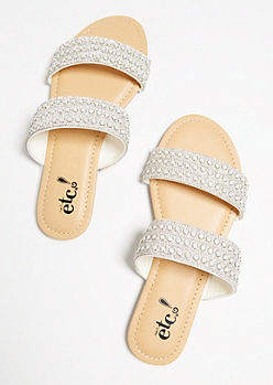 White Pearl Dotted Slip On Sandals