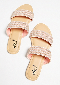 Pink Pearl Dotted Slip On Sandals