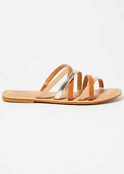 Tan Metallic Crisscross Strap Sandals