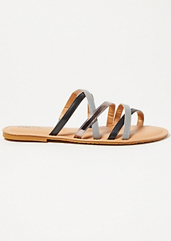 Black Metallic Crisscross Strap Sandals