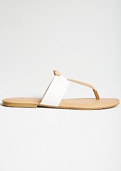 White T Strap Knot Sandals