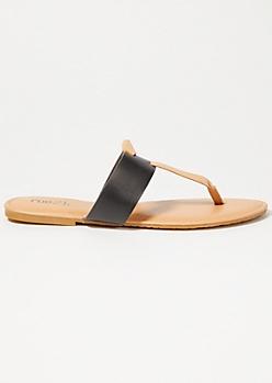 Black T Strap Knot Sandals