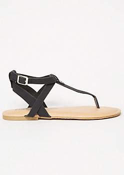 Black Studded T Strap Sandals