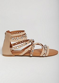 Nude Studded Strap Gladiator Sandals