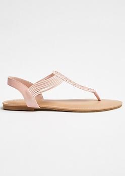 Pink Elastic Glitz T Strap Ankle Sandals