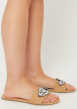 Taupe One Strap Rhinestone Sandals