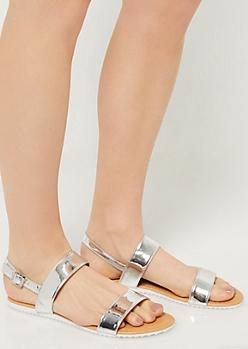 Silver Metallic Double Strap Sandals