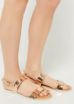 Rose Gold Metallic Double Strap Sandals