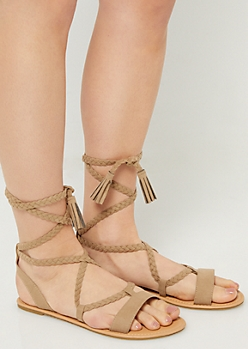 Taupe Braided Ankle Wrap Sandals