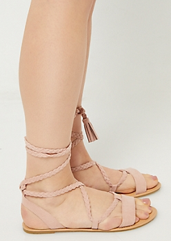 Pink Braided Ankle Wrap Sandals