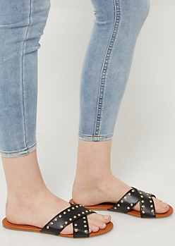 Black Studded Cross Strap Sandals