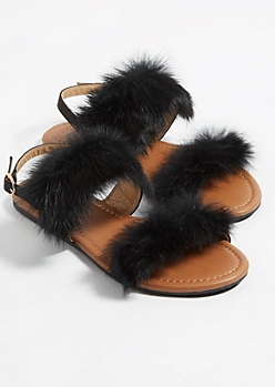 Black Fluffy Slingback Sandals