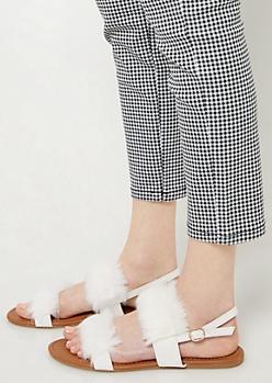 White Fluffy Slingback Sandals