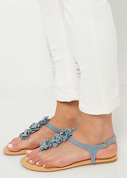 Denim Floral Rosette T-Strap Thong Sandals