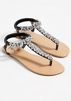 Black Large Stone T Strap Sandals