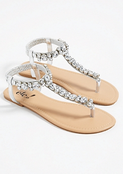 Silver Large Stone T Strap Sandals