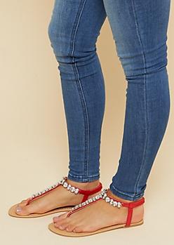 Red Gemstone T Strap Sandals