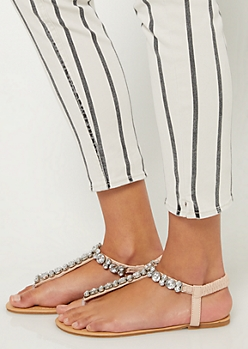 Light Pink Large Stone T Strap Sandals