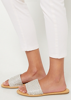 White Pearl Dotted Peep Toe Sandals