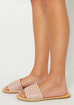 Pink Pearl Dotted Peep Toe Sandals