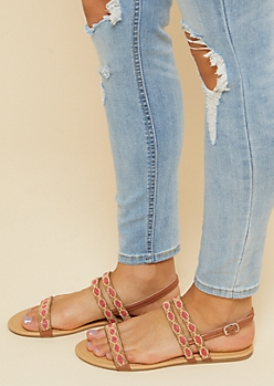 Coral Beaded Strappy Sandals
