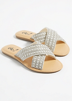 White Pearl Dotted Cross Strap Sandals