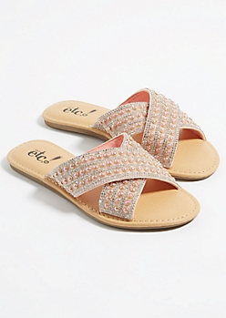 Pink Pearl Dotted Cross Strap Sandals