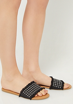 Black Studded Denim Sandals