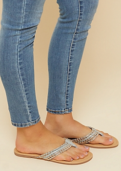 Gray Braided Faux Leather Flip Flops